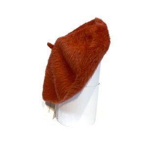NWT Anthropologie Orange Wool Fur Beret Hat